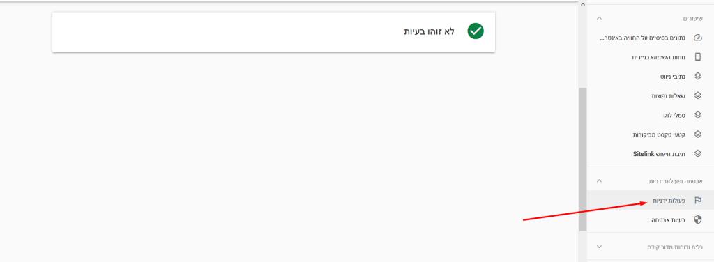 גוגל סארץ' קונסול פעולות ידניות